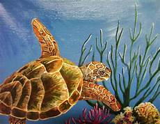 into the ocean green sea turtle painting by chris newell