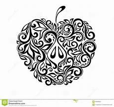 beautiful black and white apple decorated with flo stock vector illustration of color fruit