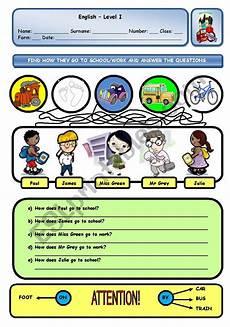 how do they go to school work esl worksheet by xani