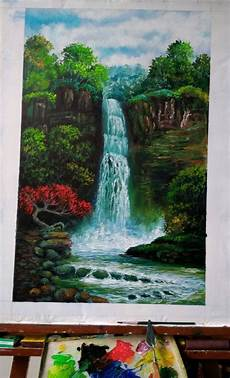 17 Lukisan Pemandangan Air Terjun Rudi Gambar