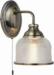 bistro ii brass switched wall light retro style holophane glass
