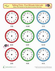 telling time to five minutes draw the time worksheet
