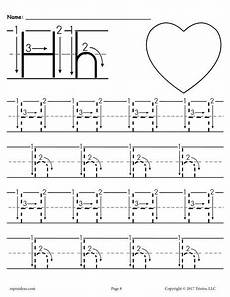 letter h tracing worksheets printable letter h tracing worksheet with number and arrow guides supplyme