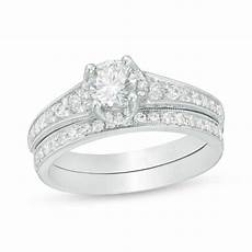 1 ct t w diamond vintage style bridal in 14k white gold engagement rings wedding zales