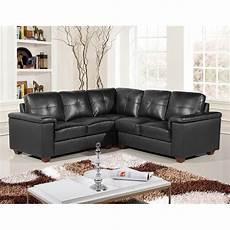 5 seater black leather pocket sprung corner sofa