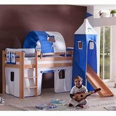 hochbetten mit rutsche burgbett mit blau wei 223 en textilien rutsche kinderzimmer