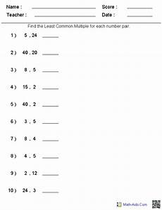 least common multiple factors and multiples math work