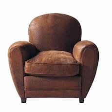 fauteuil club en microsu 232 de marron arizona maisons du monde