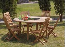 table de jardin ronde table de jardin ronde en teck brehat 155cm proloisirs