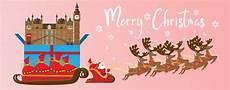 merry christmas and happy new year illustration of santa claus with london landmarks premium