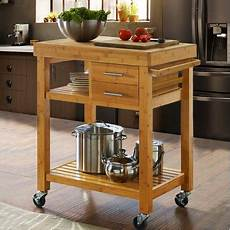Kitchen Island Cart With Cabinets by Clevr Rolling Bamboo Kitchen Island Cart Trolley Cabinet