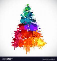 colorful abstract paint spash tree vector image