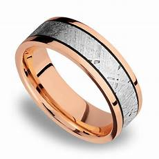 meteorite inlay men s wedding ring in 14k rose gold 7 5mm
