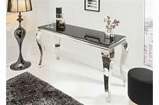 console design pas cher console moderne baroque verre opale noir et pied en acier