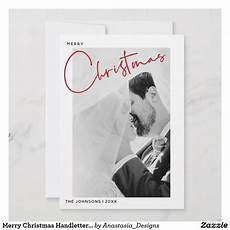 merry christmas handlettered name photo christmas holiday card zazzle com with images