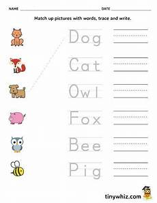 free printable spelling worksheet match trace write words free printable school worksheets