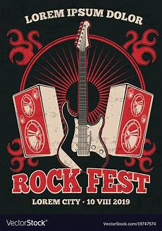 retro rock music band poster with guitar vector image