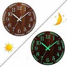 Glow Mute Wood Wall Clock by 12 Inch Luminous Wall Clock Wooden Silent Non Ticking