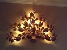 mid century italian sconce gold metal gilt flowers l wall art light ebay
