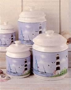seaside lighthouse canister quartet beach theme kitchen nautical kitchen lighthouse decor