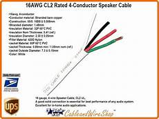 4 conductor 16 awg stranded bare copper cl2 speaker cable 500 ft