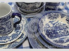 Collection Of Blue And White China Dishes Stock Photo