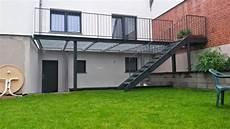 Terrassen Treppen In Den Garten - fr 214 bel metallbau stahlterrasse mit stahltreppe in br 252 hl