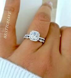 925 silver 2 piece asscher cut halo wedding