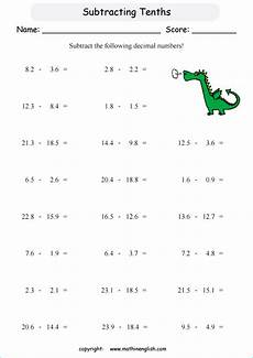 subtracting decimal tenths printable grade 4 math worksheet