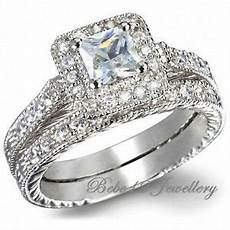 engagement ring wedding band square cut double rings rgr063 ebay