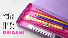 origami pencil tray with 4 sections tutorial paper kawaii