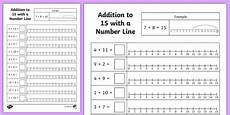 addition worksheets up to 15 9085 addition to 15 with a number line worksheet worksheet