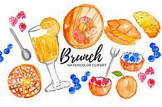 watercolor brunch food clipart illustrations creative