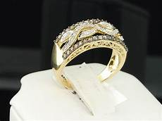womens yellow gold chocolate brown diamond engagement ring wedding band bridal