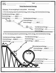 physical science worksheet conservation of energy 3 13056 calculating total mechanical energy worksheet by delzer s dynamite designs