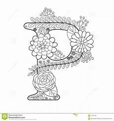 Ausmalbilder Buchstaben P Letter P Coloring Book For Adults Vector Stock Vector