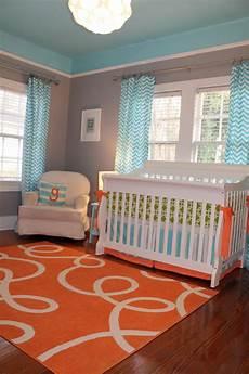 Kinderzimmer Streichen Blau - custom nursery by cool color combo orange