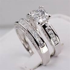 sterling silver 14k white gold princess diamond cut engagement wedding ring set ebay
