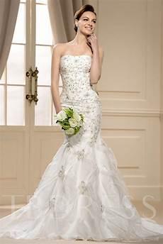 gorgoues mermaid strapless chapel train appliques wedding dress tbdress com