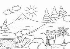 Gambar Mewarnai Pemandangan Gunung Buku Mewarnai