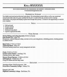medical billing and coding specialist resume sle