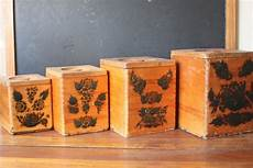 wooden canisters kitchen vintage wooden nesting kitchen canister set dovetail wooden