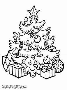 coloring page new year and tree