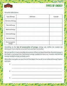 science worksheet energy 12191 types of energy view printable sixth grade science worksheet school of dragons sixth grade