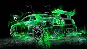 Nissan Skyline GTR R34 Fire Abstract Car 2013  El Tony