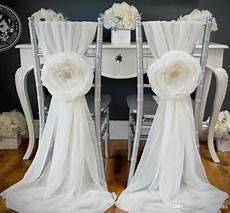 2018 2015 white wedding decorations chair covers sash for weddings with big 3d flowers chiffon