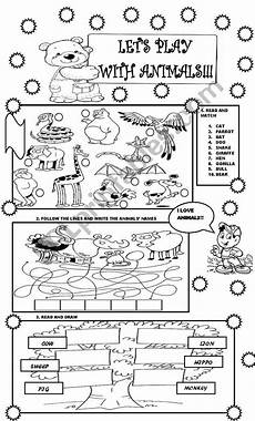 let 180 s play with animals for little kids esl worksheet by danielgodoy