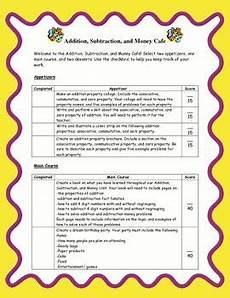 worksheets for clock 19172 addition subtraction and money choice board common aligned multiplication division