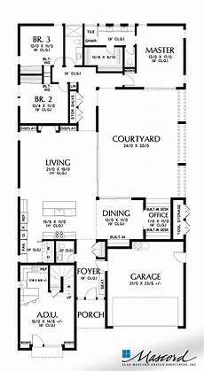modern house plans with courtyard mascord house plan 1260 the alameda north main floor