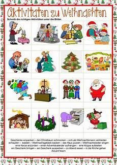 weihnachten aktivit 228 ten arbeitsblatt kostenlose daf